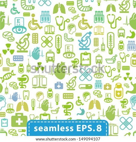 medical icons seamless.eps8. - stock vector
