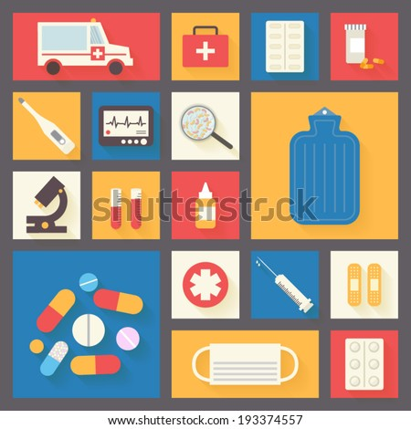 Medical icons set: ambulance, cross, pills, microscope, ECG monitor, microbes, plaster and syringe. Healthcare infographic elements. Vector illustration. - stock vector