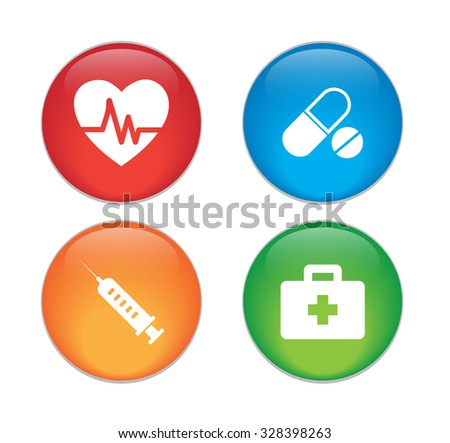Medical icons set,  glossy button. - stock vector