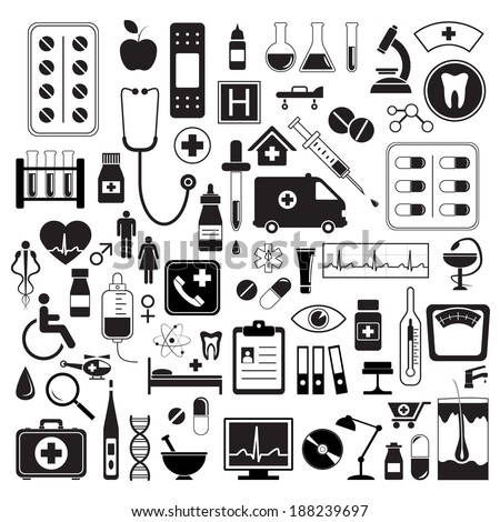 Medical icons set, isolated on white background, vector illustration. - stock vector