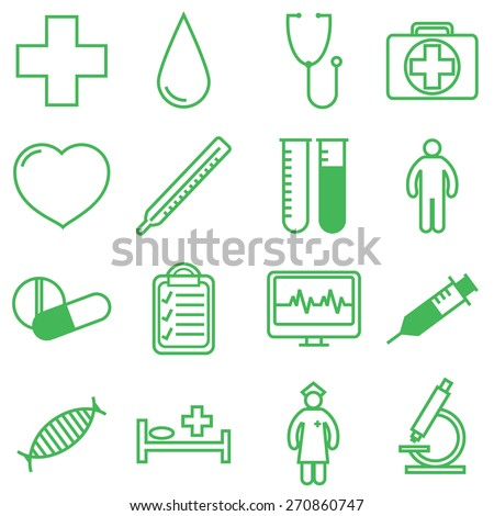 Medical icons set. Vector illustration in linear (flat) design. - stock vector