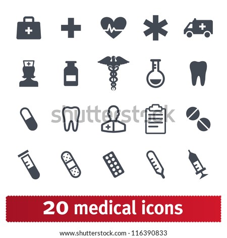 Medical icons: vector set of health and medicine - stock vector