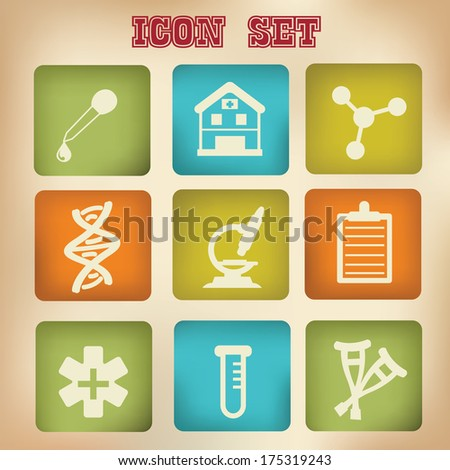 Medical icons,vintage version,vector - stock vector