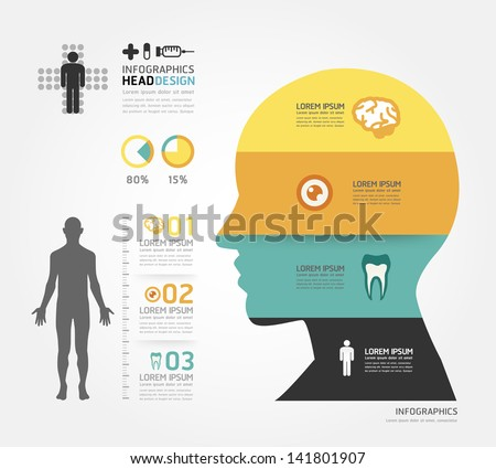Medical Infographic Design template / can be used for infographics / horizontal cutout lines / graphic or website layout vector - stock vector
