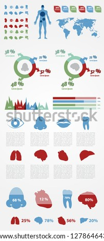 Medical Infographic Elements with Icons and Presentation. Full Vector. Eps 10. - stock vector