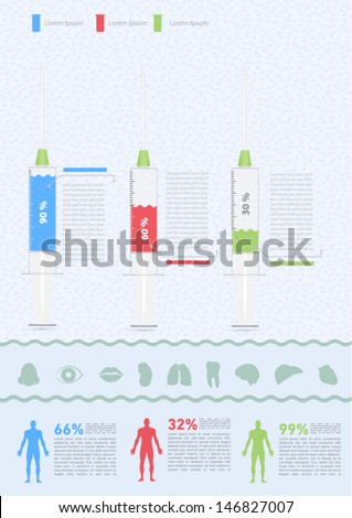 Medical Infographic Elements, with textbox and icon set. - stock vector
