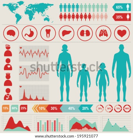 Medical infographic set with charts and other elements. Vector illustration. - stock vector