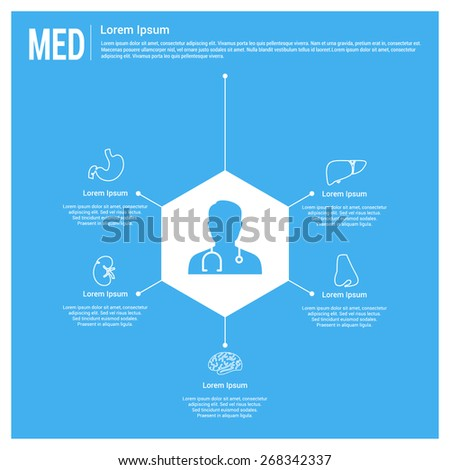 Medical infographics. Doctor connected with body parts health care infographics template. Human body organs icon connected with doctor. Disease Specialists. Blue Background - stock vector