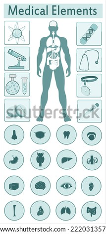 Medical infographics. Presentation set. Human body with internal organs plus buttons. - stock vector