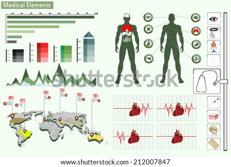 Medical infographics. Presentation set. Human body with internal organs plus buttons. Diagram (graph) - stock vector
