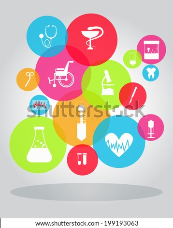 medical items - stock vector