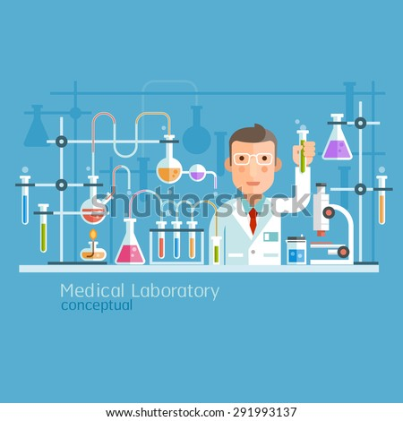 Medical Laboratory Conceptual. Vector Illustration. - stock vector