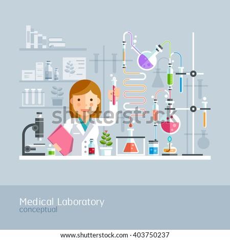 Medical Laboratory Conceptual. Vector Illustration. - stock vector
