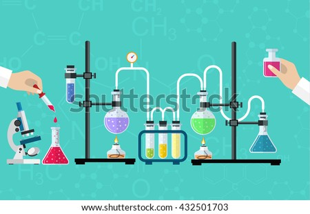 Medical Laboratory. Research, testing, studies in chemistry, physics, biology. laboratory equipment. Hands of doctor with pipette and test tube. Desktop research. Vector illustration, flat design. - stock vector