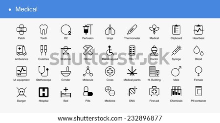 Medical line icons, Vector set - stock vector