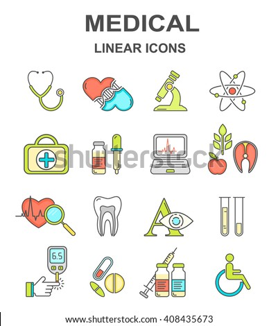 Medical linear icons. Medical vector colored line style icon set.  - stock vector