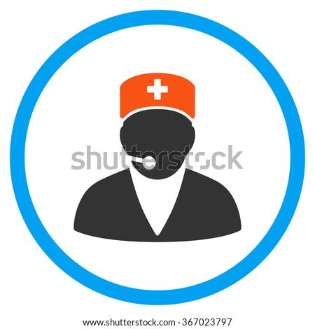 Medical Manager vector icon. Style is flat circled symbol, orange and blue colors, rounded angles, white background. - stock vector