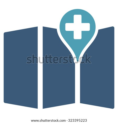 Medical Map vector icon. Style is bicolor flat symbol, cyan and blue colors, rounded angles, white background. - stock vector