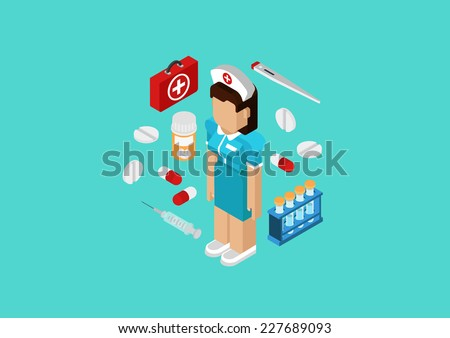 Medical nurse or doctor medicine hospital staff concept. Flat 3d isometric pixel art modern design portrait of female. Pills, kit, flask, syringe vector. Web illustration website infographic elements. - stock vector