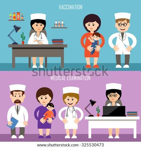 Medical office. Children's vaccination. Medical examination. Vector illustration - stock vector