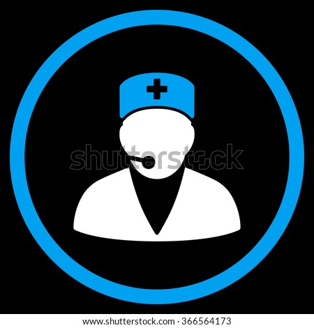 Medical Operator vector icon. Style is bicolor flat circled symbol, blue and white colors, rounded angles, black background. - stock vector