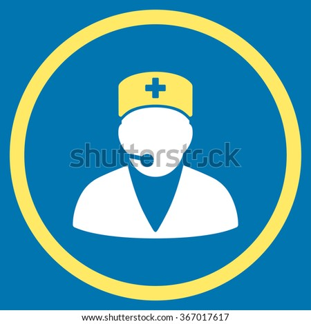 Medical Operator vector icon. Style is bicolor flat circled symbol, yellow and white colors, rounded angles, blue background. - stock vector