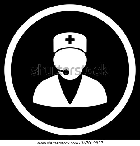 Medical Operator vector icon. Style is flat circled symbol, white color, rounded angles, black background. - stock vector