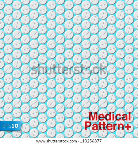Medical pattern with pills, vector Eps 10 illustration. - stock vector