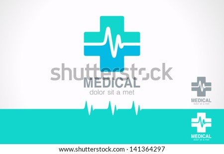 Medical pharmacy logo design template. Medic cross icon with cardiogram.  Vector identity. Editable. - stock vector