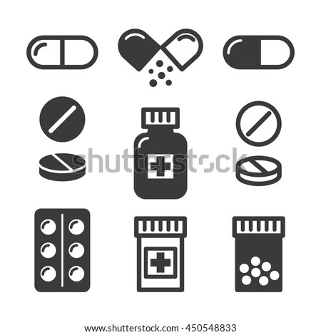 Medical pills and bottles icons set - stock vector