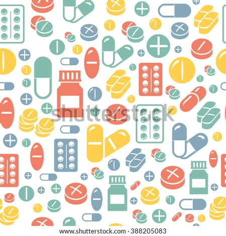 Medical pills and capsules seamless pattern.  - stock vector