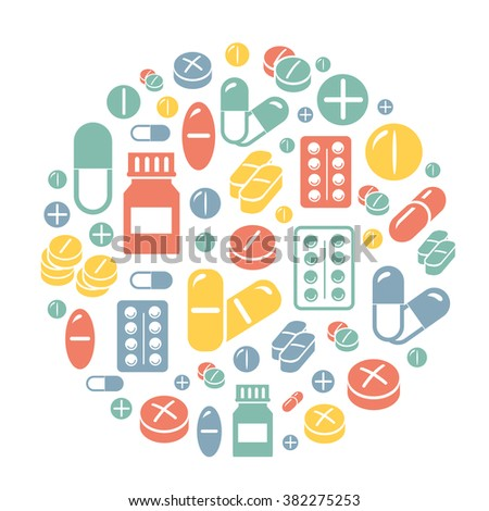 Medical pills icons circle background card.  - stock vector