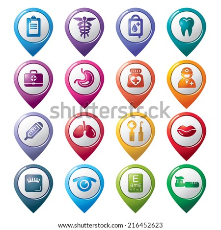 Medical Pointer Icons - stock vector