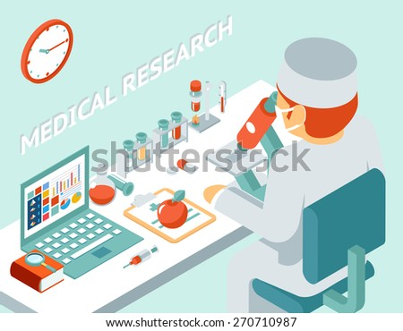 Medical research 3d isometric concept. Science chemical, medicine and pill, vector illustration - stock vector
