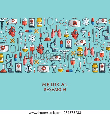 Medical research. Hand drawn health care and medicine icons. Vector illustration. - stock vector