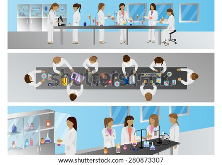 Medical Scientists, Laboratory Research - Different View - Set - Vector Illustration, Graphic Design Editable For Your Design - stock vector