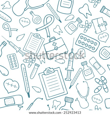 Medical seamless pattern in blue color. Vector illustration - stock vector