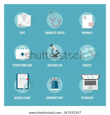 Medical services and patient health care flat icons set with objects - stock vector