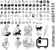 Medical set of black sketch. Part 101-4. Isolated groups and layers. - stock vector