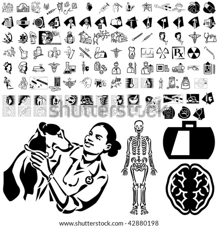 Medical set of black sketch. Part 104-5. Isolated groups and layers. - stock vector