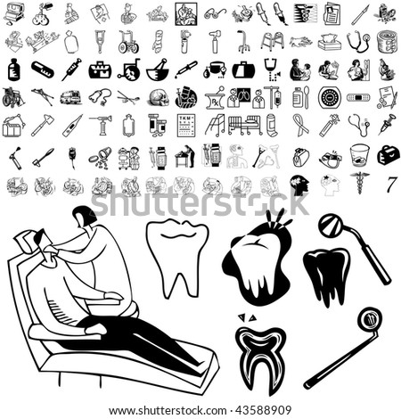Medical set of black sketch. Part 106-17. Isolated groups and layers. - stock vector