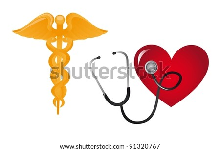 medical sign with stethoscope and heart vector illustration - stock vector
