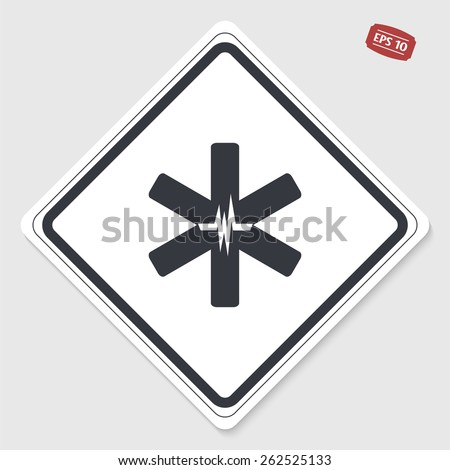 Medical sign with the pulse. Flat design style. Made in vector. Emblem or label with shadow. - stock vector