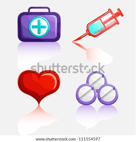 Medical signs with shadow on a white background: a syringe, pills, heart, and first aid kit. - stock vector