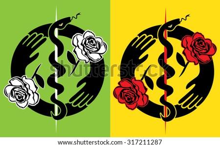 medical snake silhouette roses flower design stamp illustration  - stock vector