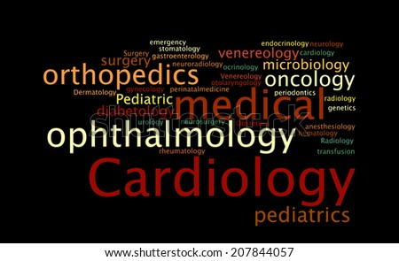 Medical specialization in the form of a cloud of words. Vector illustration - stock vector