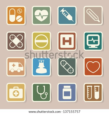 Medical sticker icons set, . Illustration eps 10 - stock vector
