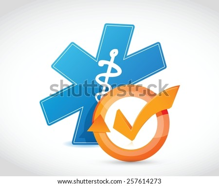 medical symbol and check mark cycle illustration design over white - stock vector