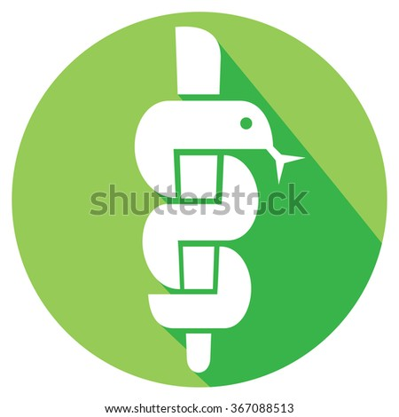 medical symbol caduceus snake with stick flat icon (emblem for drugstore, symbol of pharmacy) - stock vector
