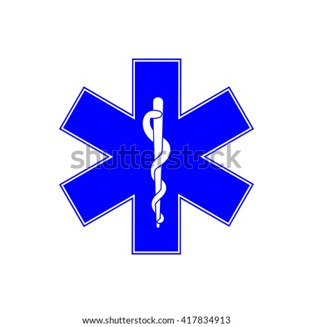Medical symbol of the Emergency - Star of Life - icon isolated on white background. Vector icon. Emergency symbol. Blue, six-pointed star emblem for ambulances. - stock vector